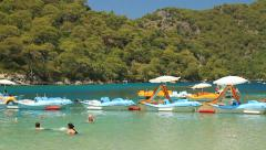 Sea Bikes for rent at Oludeniz Beach Stock Footage