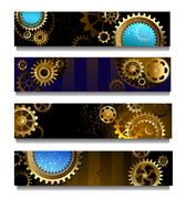 Four banners with gears Stock Illustration