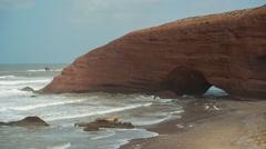 Legzira cliff sea ocean morocco wild environment nature Stock Footage