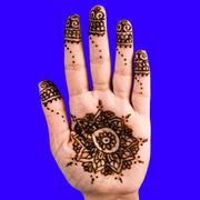 Henna hand tattoo decoration art clipping path square blue background square Stock Photos