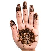 Henna hand tattoo decoration art clipping path square white background - stock photo
