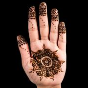 Henna hand tattoo decoration art clipping path square black background Stock Photos
