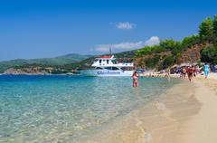 Pleasure boat at the coast of the peninsula Sithonia, Greece Stock Photos