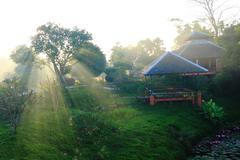 Thailand bungalows in idyllic tropical garden - stock photo
