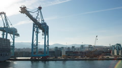 algeciras spain shipping harbour port industrial transportation cargo - stock footage