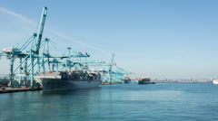 Algeciras spain shipping harbour port industrial transportation cargo Stock Footage