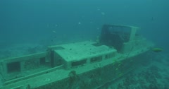 Underwater wreck boat 4K Stock Footage