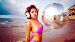 Beach sexy beautiful woman party summer sea glamour Stock Footage