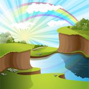 river and rainbow - stock illustration