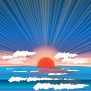 sea sundown - stock illustration