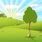 Tree an sundown Stock Illustration