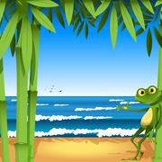 Frog on sandy to seacoast Stock Illustration