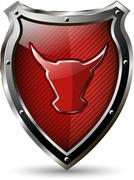 shield with the red bull - stock illustration