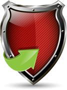 red shield - stock illustration