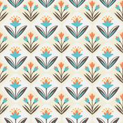 Seamless Pattern with floral ornament - stock illustration