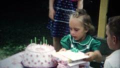 (8mm Film) Fancy Girl Birthday Party 1955 - stock footage