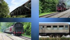 Old trains are passing by Stock Footage