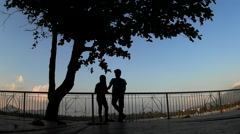 Sweethearts leaning on railings under tree silhouettes Stock Footage