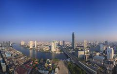 Beautiful city scape from sky scrapper in heart of bangkok capital of thailan Stock Photos