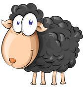 Black sheep cartoon isolate on white background Stock Illustration