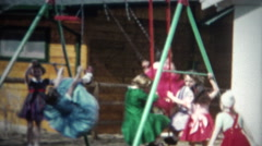 (8mm Film) Girls Playing Hard on Jungle Gym 1956 Stock Footage