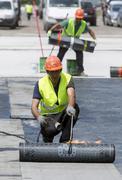 Highway workers waterproof bridge Welding Torch fire - stock photo