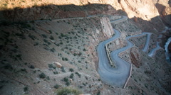 Drive off-road canyon gorge morocco dades dangerous Stock Footage