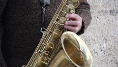 Street Saxophonist close up - 1080p Stock Footage