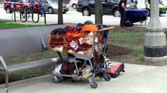 Stolen shopping cart with belongings of the Homeless Stock Footage