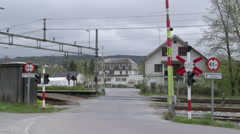 Train station road crossing - stock footage