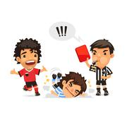 Soccer player who making tackle foul and Referee showing him red - stock illustration