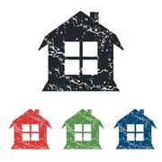 House grunge icon set - stock illustration