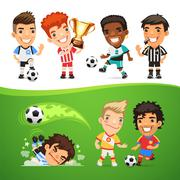Cartoon Soccer Players and Referee Stock Illustration