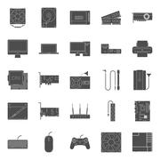 Computer components and peripherals silhouettes icons set Stock Illustration
