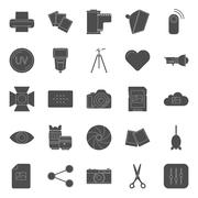 Photo equipment end editing silhouettes icons set Stock Illustration