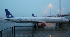 Airbus A321-232 Scandinavian Airlines, parked in Copenhagen Airport Stock Footage