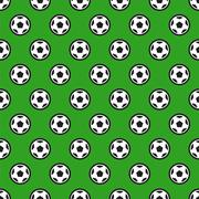 Soccer Ball on Green Seamless Background Stock Illustration