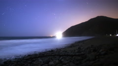 Stock Video Footage of 4K Astrophotography Time Lapse of Moonlit Coastline in Malibu Beach -Pan L-
