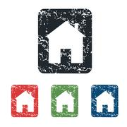 House sign grunge icon set - stock illustration