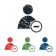 Remove user grunge icon set Stock Illustration