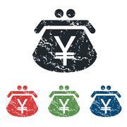 Yen purse grunge icon set - stock illustration