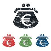 Euro purse grunge icon set Stock Illustration