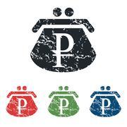 Ruble purse grunge icon set Stock Illustration