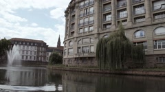 Strasbourg from River, the bank of the river Rhine in Strasbourg - stock footage