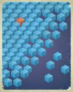 Vintage messy cubes card - stock illustration