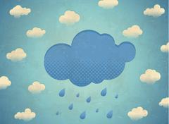 Vintage aged card with rainy clouds Stock Illustration