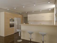 3d illustration of a kitchen in beige tones Stock Illustration