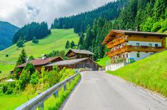 Typical alpine building oon green meadow, Austria - stock photo