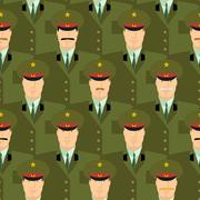 Russian military officers seamless pattern. Army background of people in unif - stock illustration