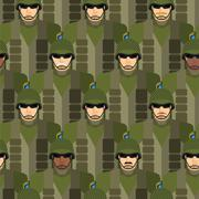 Marines seamless pattern. Soldiers in helmets and bullet-proof vests. Militar Stock Illustration